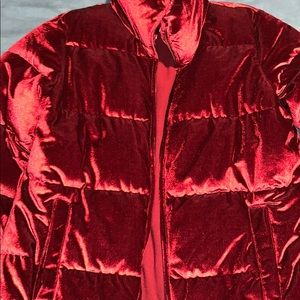 Crushed red Velvet puffer jacket